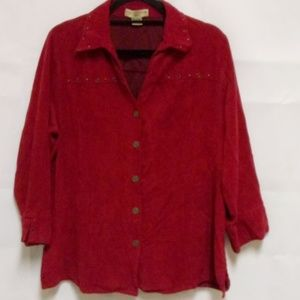 Womens Buttondown Shirt Sz 1X Plus Rust Blouse D35